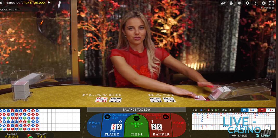 Baccarat na Żywo z krupierem w kasynie Energy