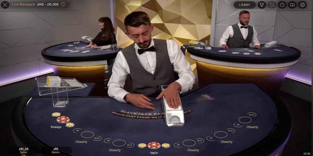Blackjack na Żywo w kasynie Energy