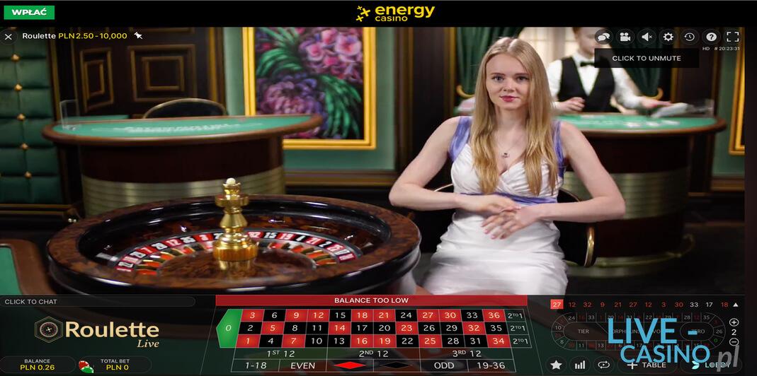Ruletka na Żywo w kasynie Energy