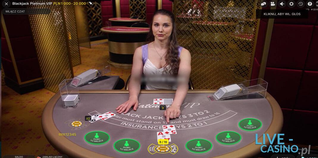 Blackjack Na Żywo w kasynie CasinoEuro