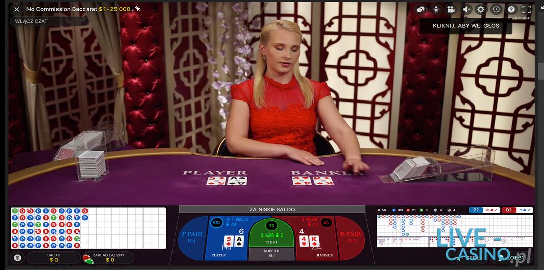 Baccarat na żywo w kasynie Unibet